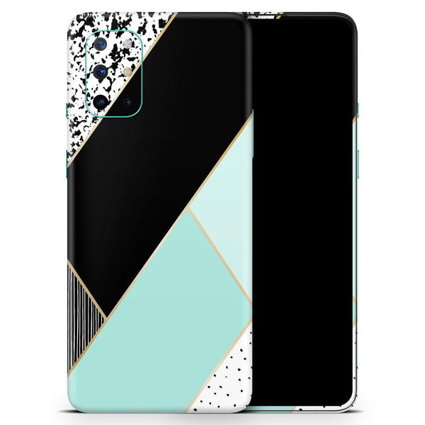 Minimalistic Mint and Gold Striped V1 - Full Body Skin Decal Wrap Kit for OnePlus Phones