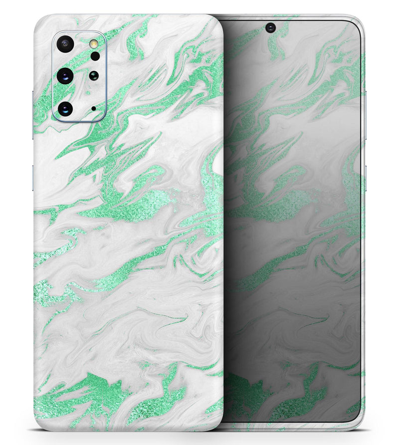 Mint Marble & Digital Gold Foil V3 - Skin-Kit for the Samsung Galaxy S-Series S20, S20 Plus, S20 Ultra , S10 & others (All Galaxy Devices Available)