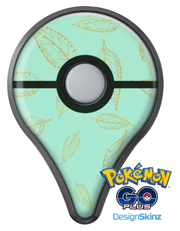 Mint and Gold Floral v11 Pokémon GO Plus Vinyl Protective Decal Skin Kit