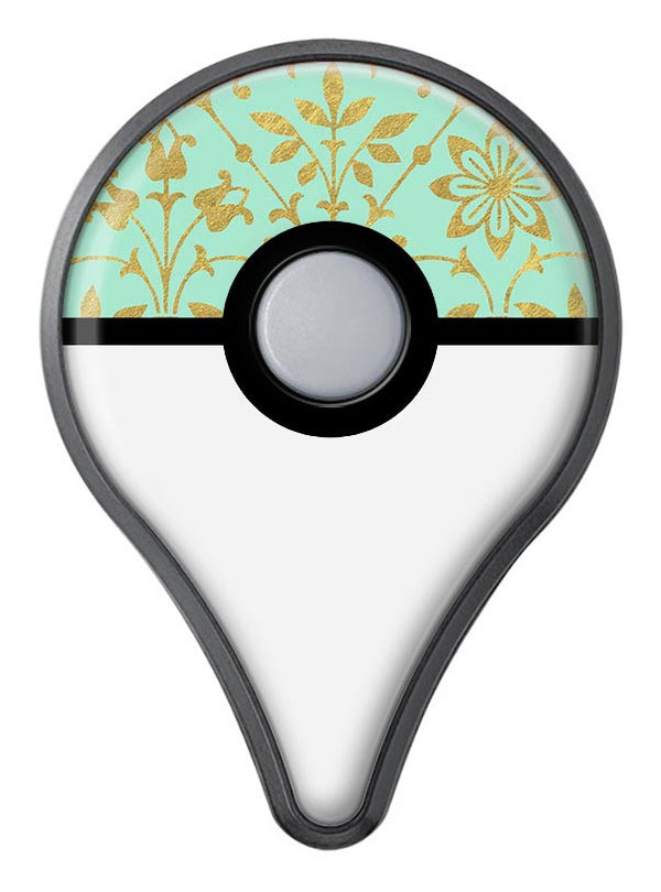 Mint and Gold Floral v12 Pokémon GO Plus Vinyl Protective Decal Skin Kit