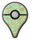 Mint and Gold Floral v2 Pokémon GO Plus Vinyl Protective Decal Skin Kit