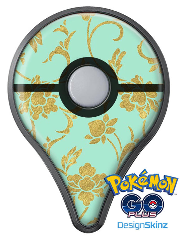 Mint and Gold Floral v3 Pokémon GO Plus Vinyl Protective Decal Skin Kit
