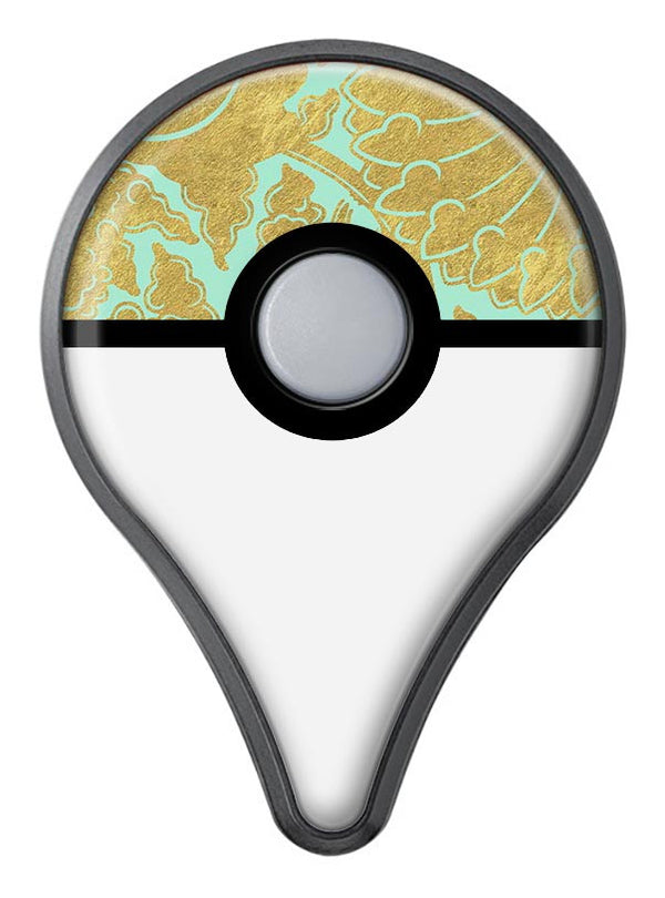 Mint and Gold Floral v4 Pokémon GO Plus Vinyl Protective Decal Skin Kit