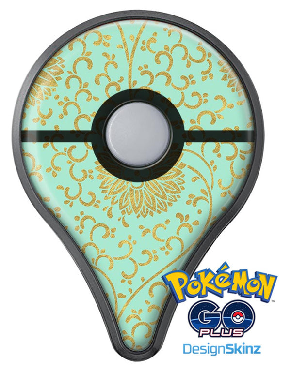 Mint and Gold Floral v5 Pokémon GO Plus Vinyl Protective Decal Skin Kit