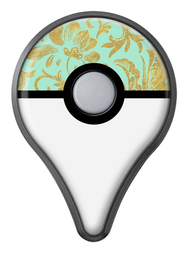Mint and Gold Floral v6 Pokémon GO Plus Vinyl Protective Decal Skin Kit