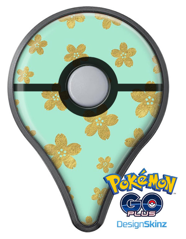 Mint and Gold Floral v7 Pokémon GO Plus Vinyl Protective Decal Skin Kit