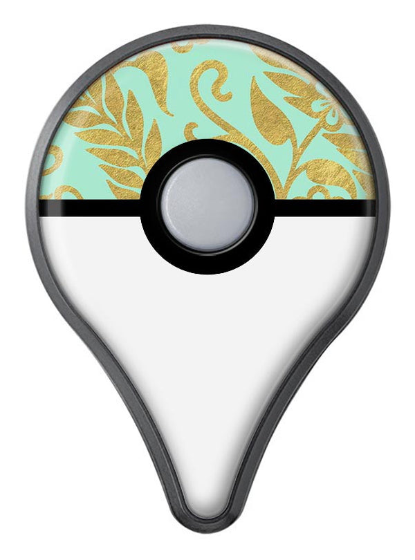 Mint and Gold Floral v9 Pokémon GO Plus Vinyl Protective Decal Skin Kit