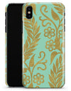 Mint and Gold Floral v9 - iPhone X Clipit Case