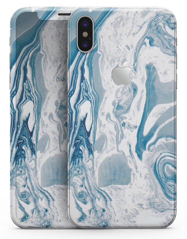 Mixtured Blue 57 Textured Marble - iPhone X Skin-Kit