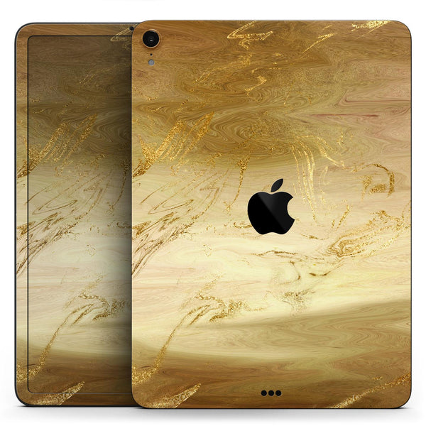 "Molten Gold Digital Foil Swirl V12 - Full Body Skin Decal for the Apple iPad Pro 12.9"", 11"", 10.5"", 9.7"", Air or Mini (All Models Available)"