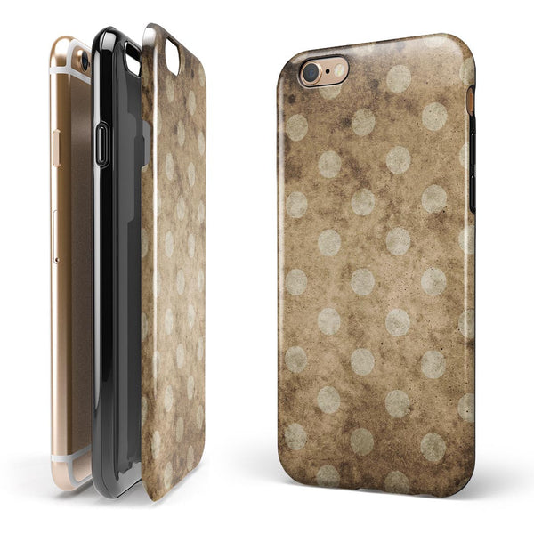Mottled Brown and White Polkadots -7 iPhone 6/6s or 6/6s Plus 2-Piece Hybrid INK-Fuzed Case