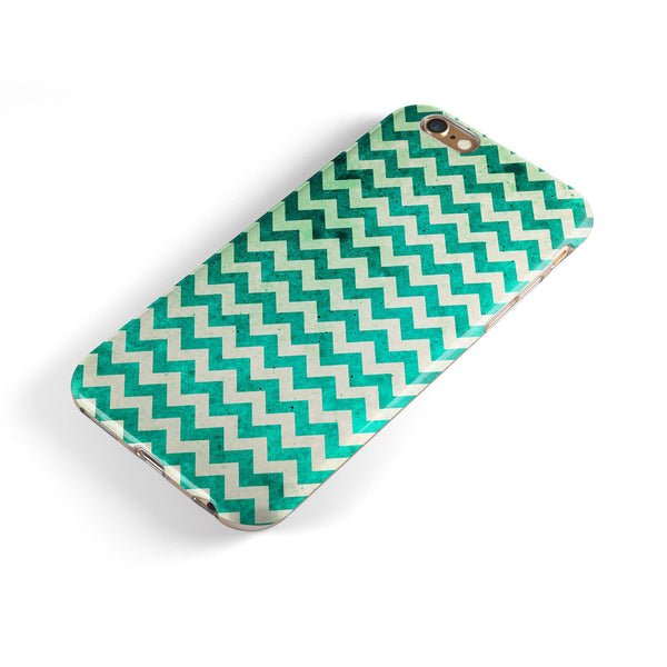 Multi-shades of Green Chevron Pattern iPhone 6/6s or 6/6s Plus 2-Piece Hybrid INK-Fuzed Case