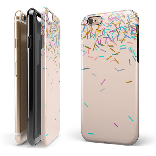 Multicolor Birth Sprinkles Over Tan iPhone 6/6s or 6/6s Plus 2-Piece Hybrid INK-Fuzed Case