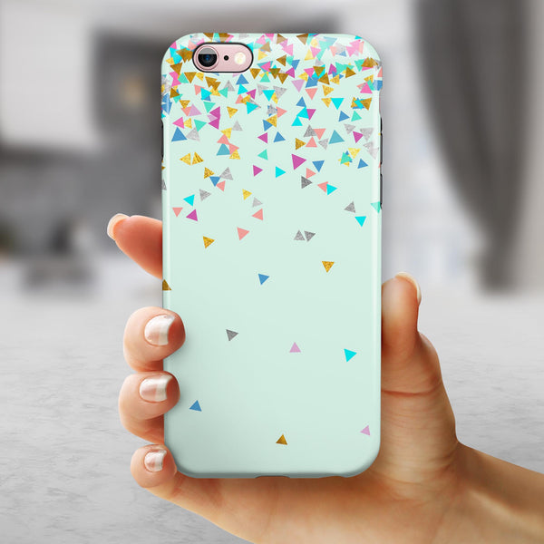 Multicolor Birthday Shapes Over Mint  iPhone 6/6s or 6/6s Plus 2-Piece Hybrid INK-Fuzed Case