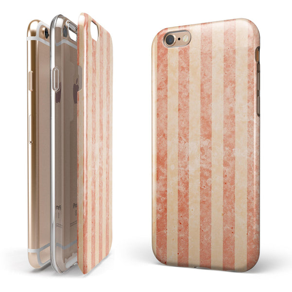Multicolor Coral Vertical Stripes iPhone 6/6s or 6/6s Plus 2-Piece Hybrid INK-Fuzed Case
