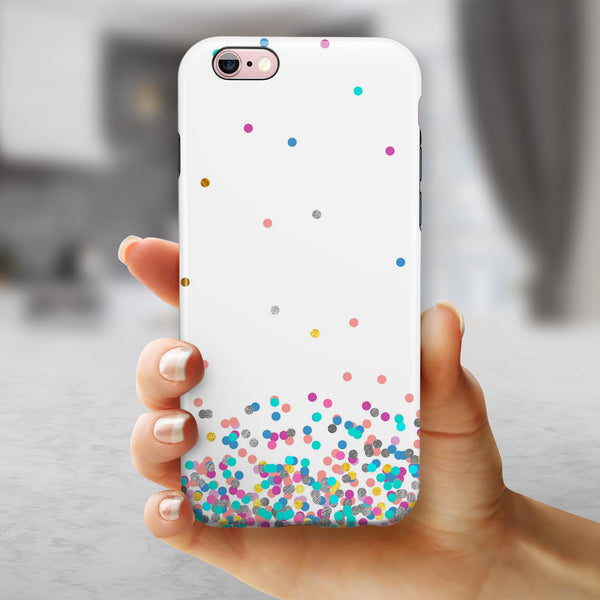 Multicolor Polka Dot Over White iPhone 6/6s or 6/6s Plus 2-Piece Hybrid INK-Fuzed Case
