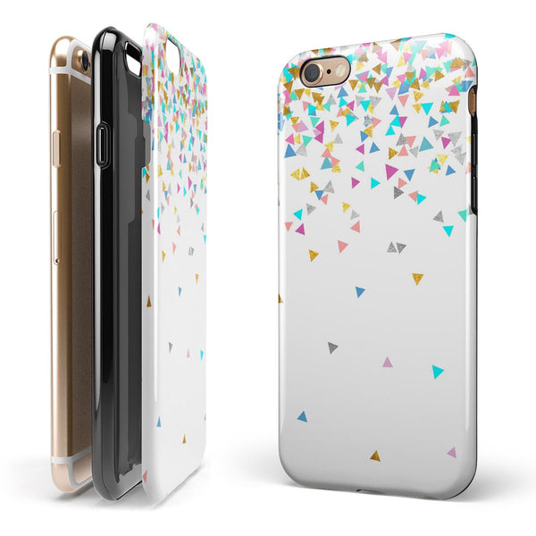 Multicolor Trianlges Over White  iPhone 6/6s or 6/6s Plus 2-Piece Hybrid INK-Fuzed Case