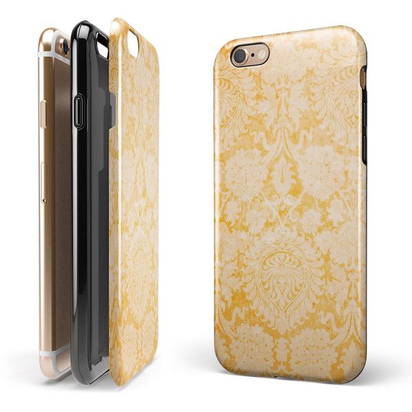 Mustard Yellow Cauliflower Damask Pattern iPhone 6/6s or 6/6s Plus 2-Piece Hybrid INK-Fuzed Case