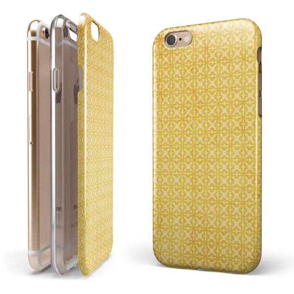 Mustard Yellow Cross Pattern iPhone 6/6s or 6/6s Plus 2-Piece Hybrid INK-Fuzed Case