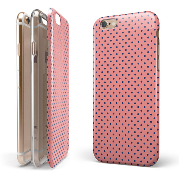 Navy Blue Micro Polka Dots Over Coral iPhone 6/6s or 6/6s Plus 2-Piece Hybrid INK-Fuzed Case