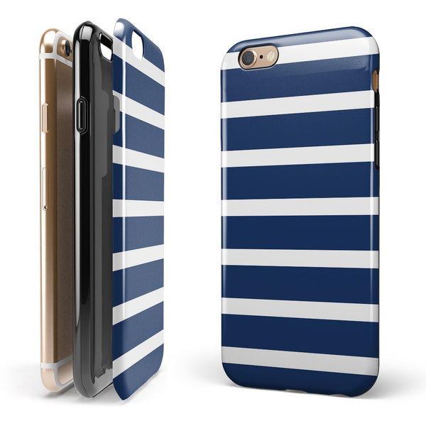 Navy Blue and White Horizontal Stripes iPhone 6/6s or 6/6s Plus 2-Piece Hybrid INK-Fuzed Case