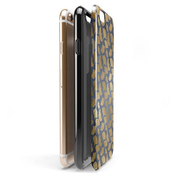 Navy Gold Foil v10 iPhone 6/6s or 6/6s Plus 2-Piece Hybrid INK-Fuzed Case