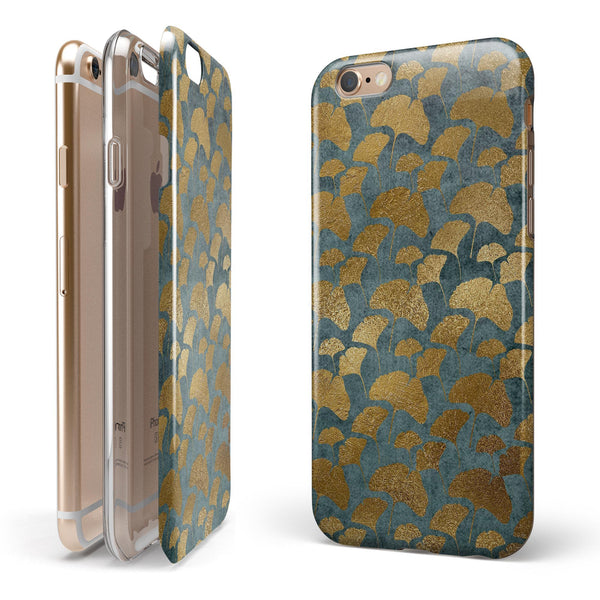 Navy Gold Foil v11 iPhone 6/6s or 6/6s Plus 2-Piece Hybrid INK-Fuzed Case
