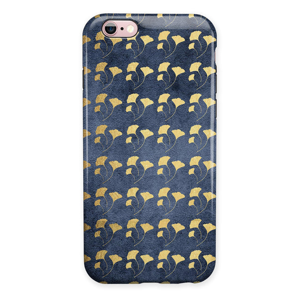 Navy Gold Foil v4 iPhone 6/6s or 6/6s Plus 2-Piece Hybrid INK-Fuzed Case