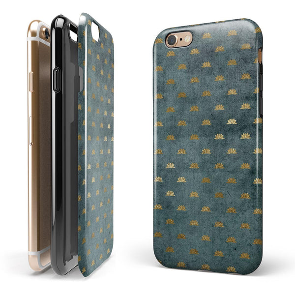 Navy Gold Foil v5 iPhone 6/6s or 6/6s Plus 2-Piece Hybrid INK-Fuzed Case