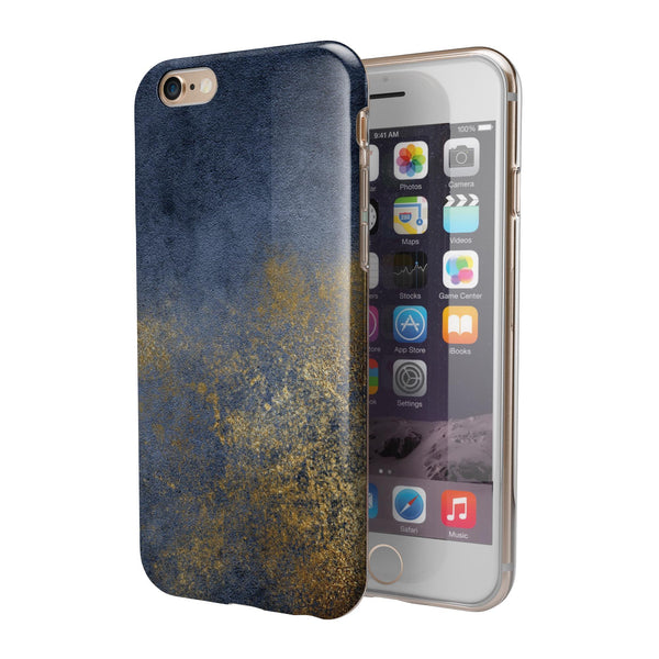 Navy Gold Foil v6 iPhone 6/6s or 6/6s Plus 2-Piece Hybrid INK-Fuzed Case