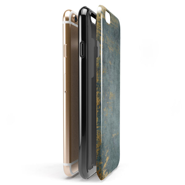 Navy Gold Foil v7 iPhone 6/6s or 6/6s Plus 2-Piece Hybrid INK-Fuzed Case