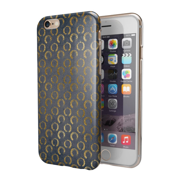 Navy Gold Foil v8 iPhone 6/6s or 6/6s Plus 2-Piece Hybrid INK-Fuzed Case