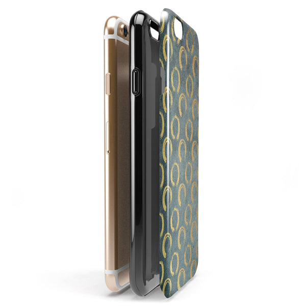 Navy Gold Foil v9 iPhone 6/6s or 6/6s Plus 2-Piece Hybrid INK-Fuzed Case