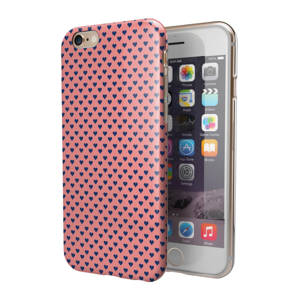 Navy Micro Hearts Over Coral Pattern iPhone 6/6s or 6/6s Plus 2-Piece Hybrid INK-Fuzed Case