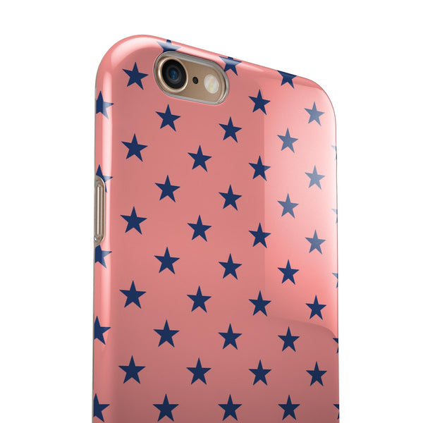 Navy Stars Over Coral Pattern iPhone 6/6s or 6/6s Plus 2-Piece Hybrid INK-Fuzed Case