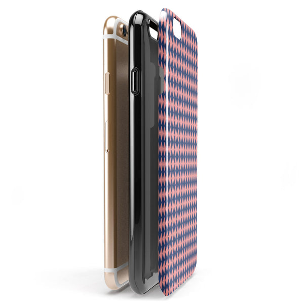 Navy and Coral Checkerboard Pattern iPhone 6/6s or 6/6s Plus 2-Piece Hybrid INK-Fuzed Case