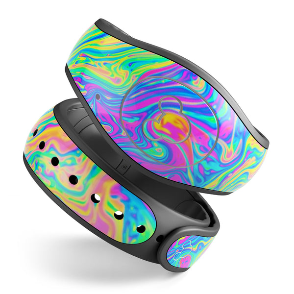Neon Color Swirls V2 - Decal Skin Wrap Kit for the Disney Magic Band