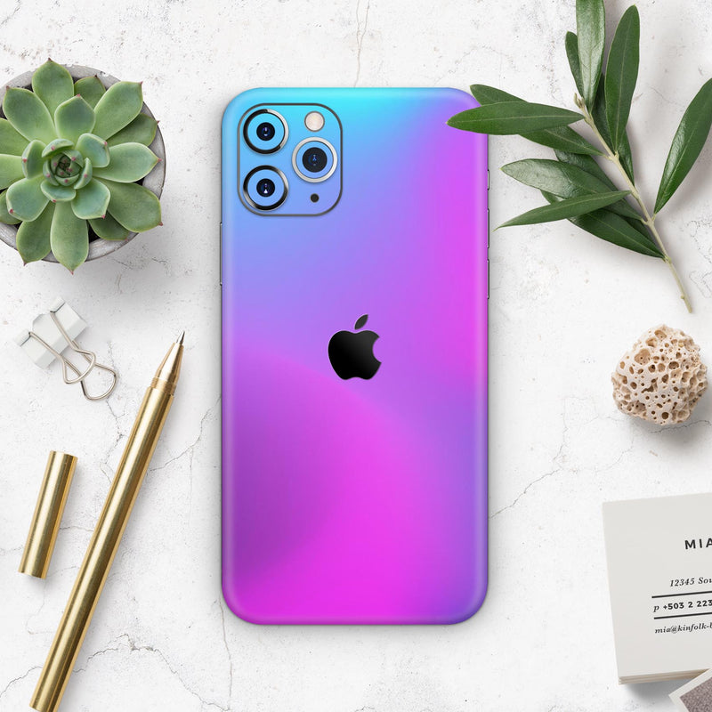 Neon Holographic V1 - Skin-Kit compatible with the Apple iPhone 12, 12 Pro Max, 12 Mini, 11 Pro or 11 Pro Max (All iPhones Available)