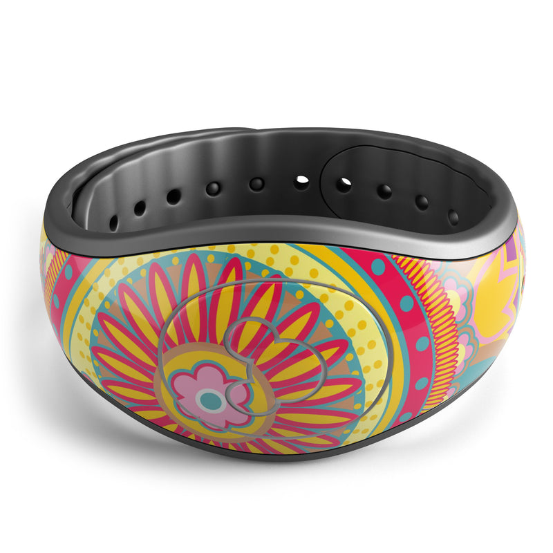 Neon Orange Paisley Pattern - Decal Skin Wrap Kit for the Disney Magic Band