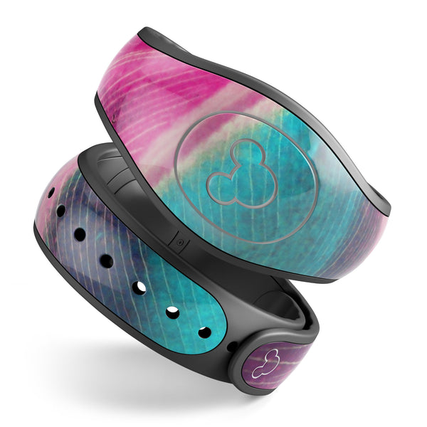 Neon Pink & Green Leaf - Decal Skin Wrap Kit for the Disney Magic Band