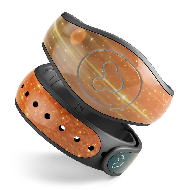 Orange Scratched Surface with Gold Beams - Decal Skin Wrap Kit for the Disney Magic Band
