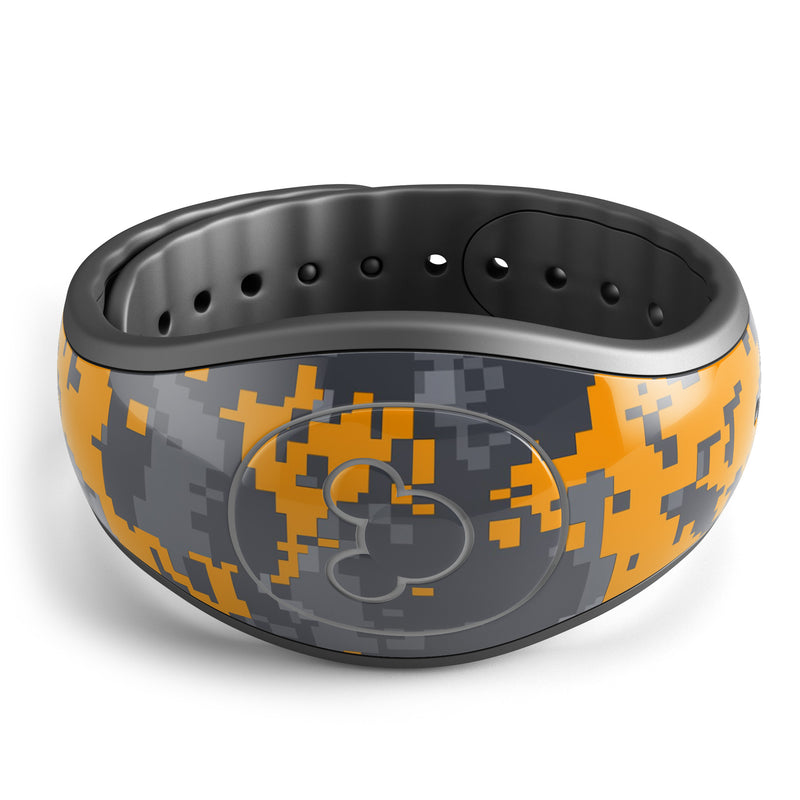 Orange and Gray Digital Camouflage - Decal Skin Wrap Kit for the Disney Magic Band