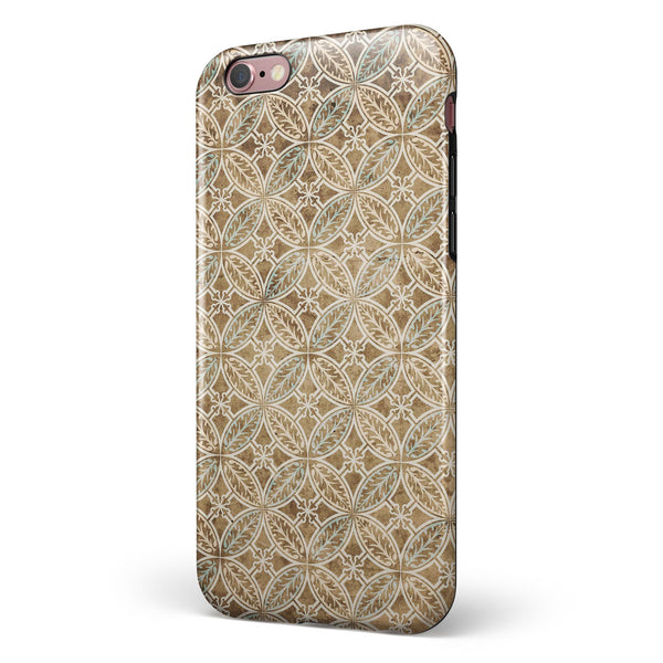 Overlapping Golden Shapes Pattern iPhone 6/6s or 6/6s Plus 2-Piece Hybrid INK-Fuzed Case