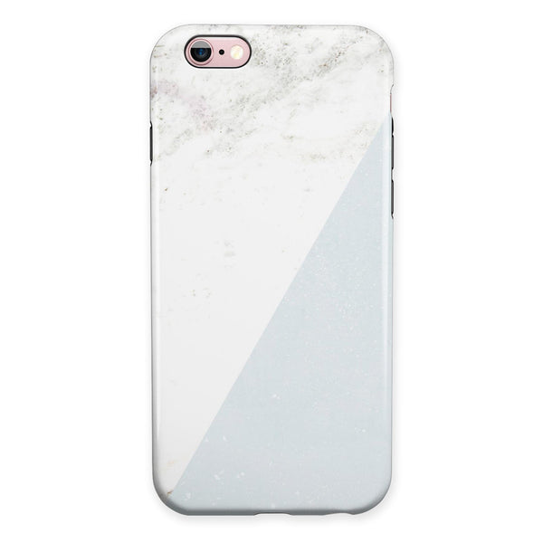 Pale Blue and White Marble Surface iPhone 6/6s or 6/6s Plus 2-Piece Hybrid INK-Fuzed Case
