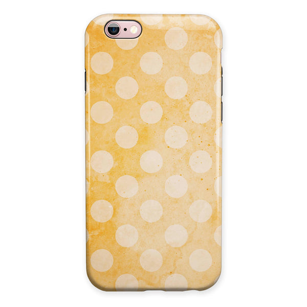 Pale Orange and Vintage White Polkadots iPhone 6/6s or 6/6s Plus 2-Piece Hybrid INK-Fuzed Case