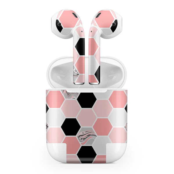 Pale Pink Hex - Full Body Skin Decal Wrap Kit for the Wireless Bluetooth Apple Airpods Pro, AirPods Gen 1 or Gen 2 with Wireless Charging