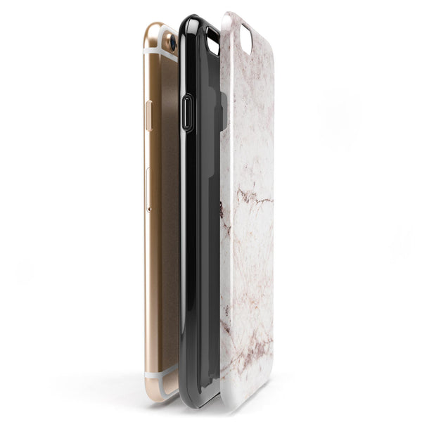 Pale Pink Marble Surface iPhone 6/6s or 6/6s Plus 2-Piece Hybrid INK-Fuzed Case