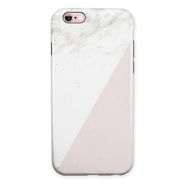 Pale Pink Slanted Marble Surface iPhone 6/6s or 6/6s Plus 2-Piece Hybrid INK-Fuzed Case