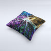 The Inverted Abstract Colorful WaterColor Vivid Tree ink-Fuzed Decorative Throw Pillow