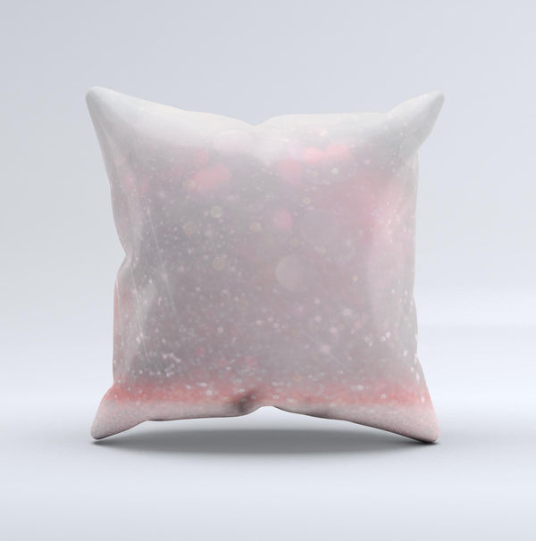 The Muted Pink and Grunge Shimmering Orbs ink-Fuzed Decorative Throw Pillow